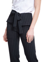 Load image into Gallery viewer, NINObrand Nathan cream pinstripe on black tapered pant with peplum