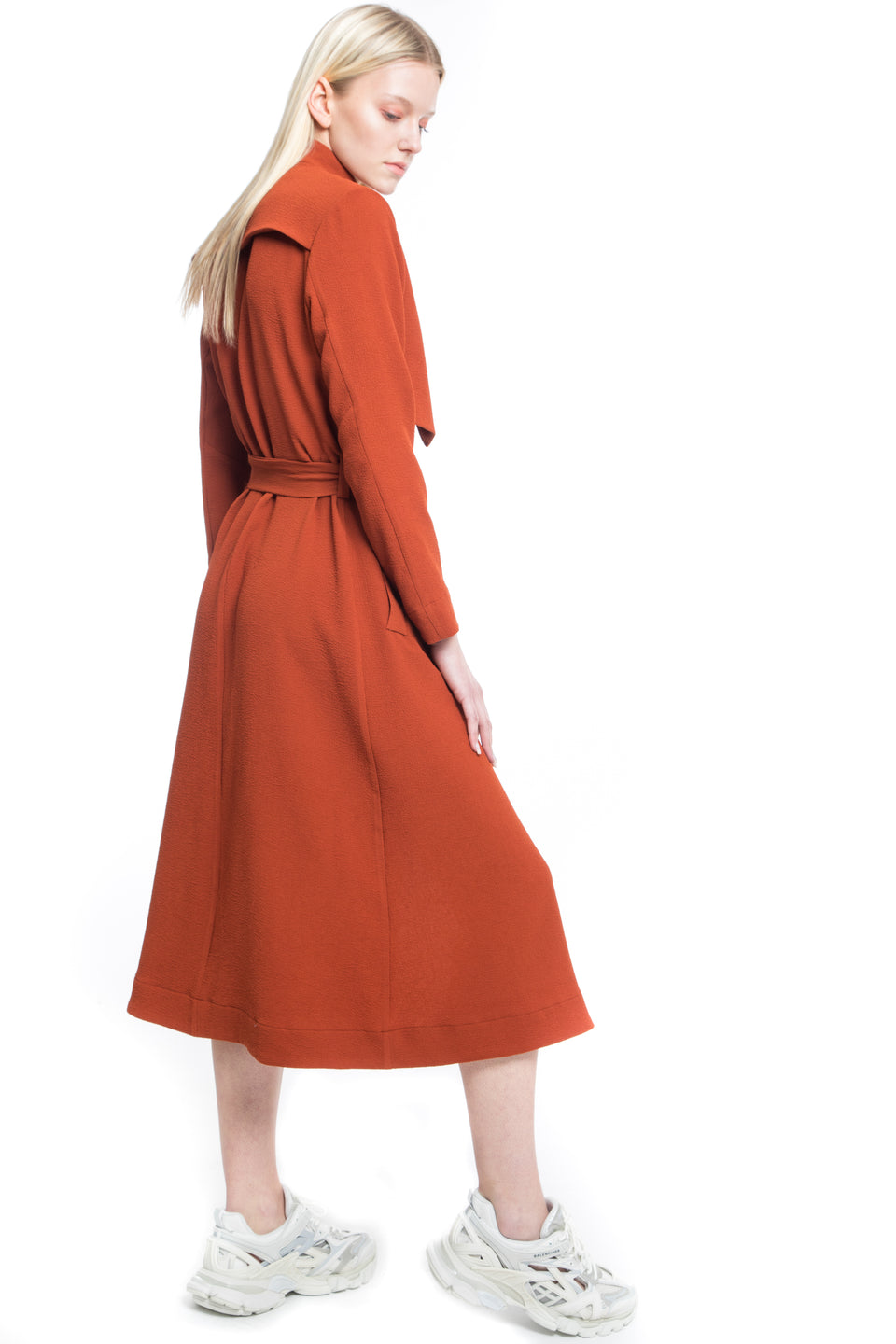 NINObrand Milan Rust color long sleeve trench coat