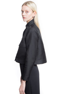 Black Waist Length A-line Jacket Two large front pockets Light crinkle texture