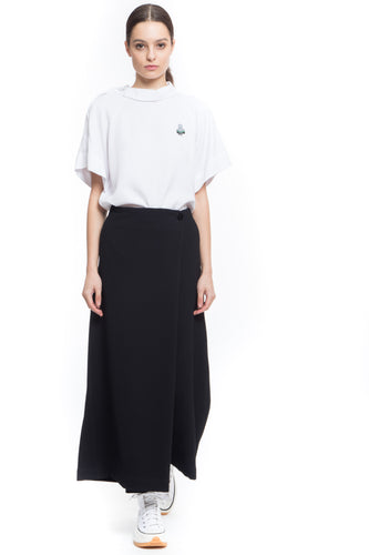 NINObrand Japanese style asymmetric long black pant in technical fabric
