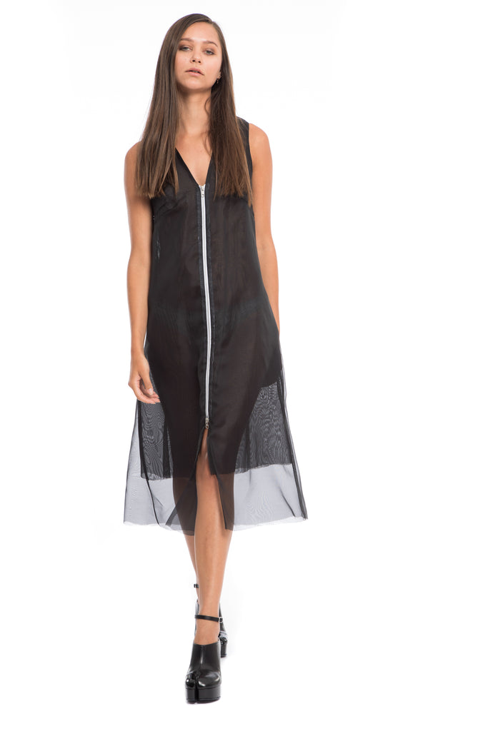 black Sheer two layered zipper dress cover up
