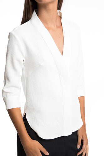 NINObrand cream V-neck button down with elbow length sleeves