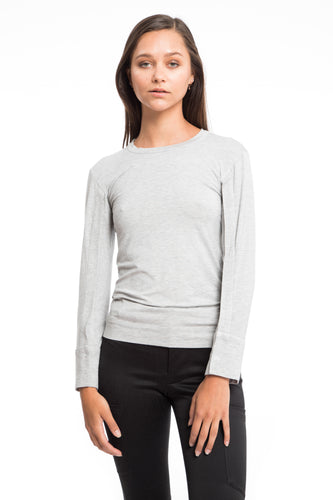NINObrand grey long sleeve, crew neck jersey top. Soft comfy and cute.