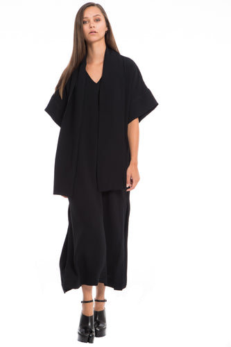 NINObrand Morgan Black v-neck long dress with elbow length sleeves