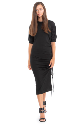NINObrand black jersey Dress with elbow sleeve and side string ruching