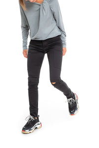 NINObrand Black skinny cargo pants with slits at the knees
