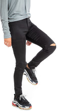 Load image into Gallery viewer, NINObrand Black skinny cargo pants with slits at the knees