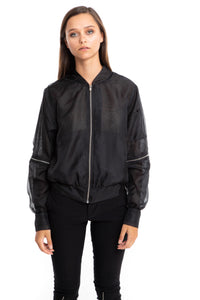NINObrand sheer Black bomber Jacket with removable sleeves