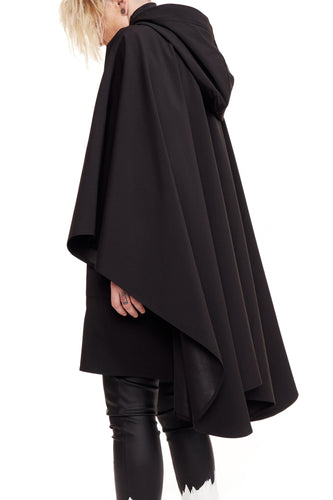 NINObrand black technical weather proof Cape with huge hoodie