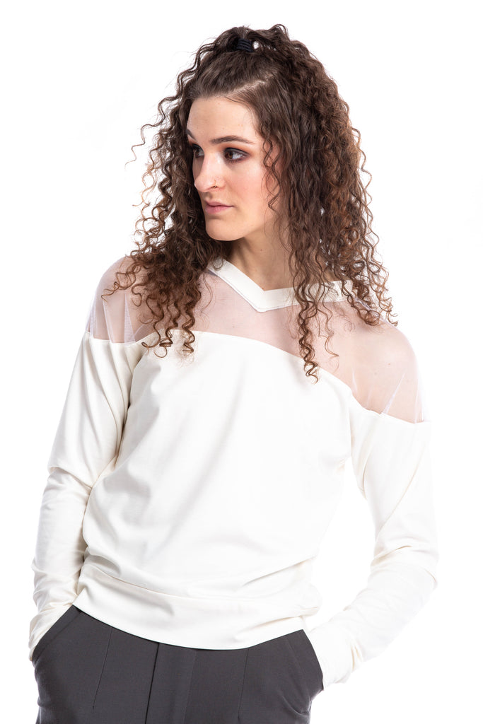 NINObrand White/cream long sleeve Top with mesh shoulders and mini v-neck