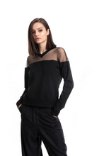 Load image into Gallery viewer, NINObrand Black Top with sheer top shoulders and a cute mini v-neck