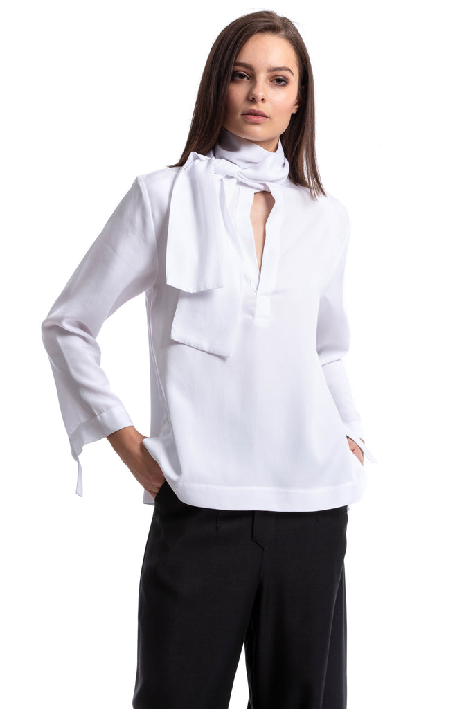 NINObrand white long sleeve Blouse with neck scarf detail
