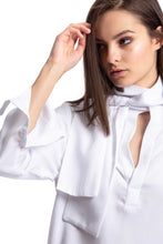 Load image into Gallery viewer, NINObrand white long sleeve Blouse with neck scarf detail