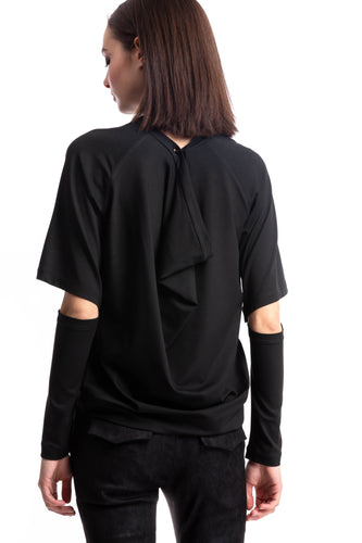 NINObrand Black Top with removable sleeves and drape on the back