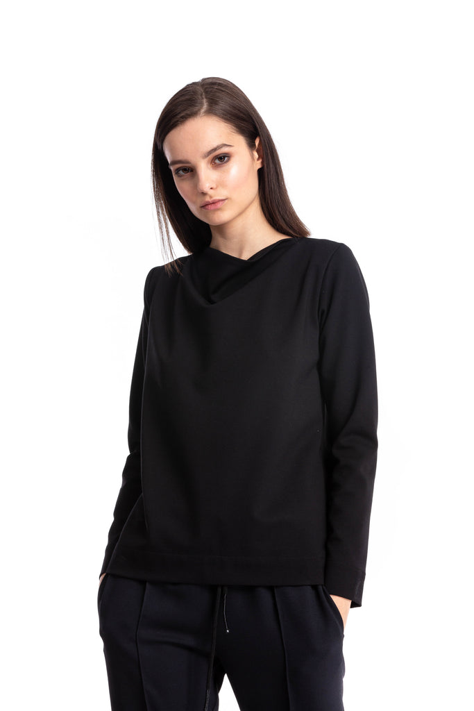 Black stretchy long sleeve Ponte Top with cowl neckline