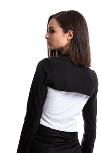 Black bolero Jacket with long sleeves and long front ties