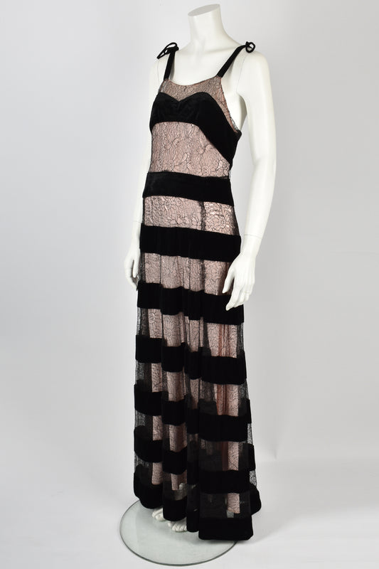 30's lace and velvet long pink gown
