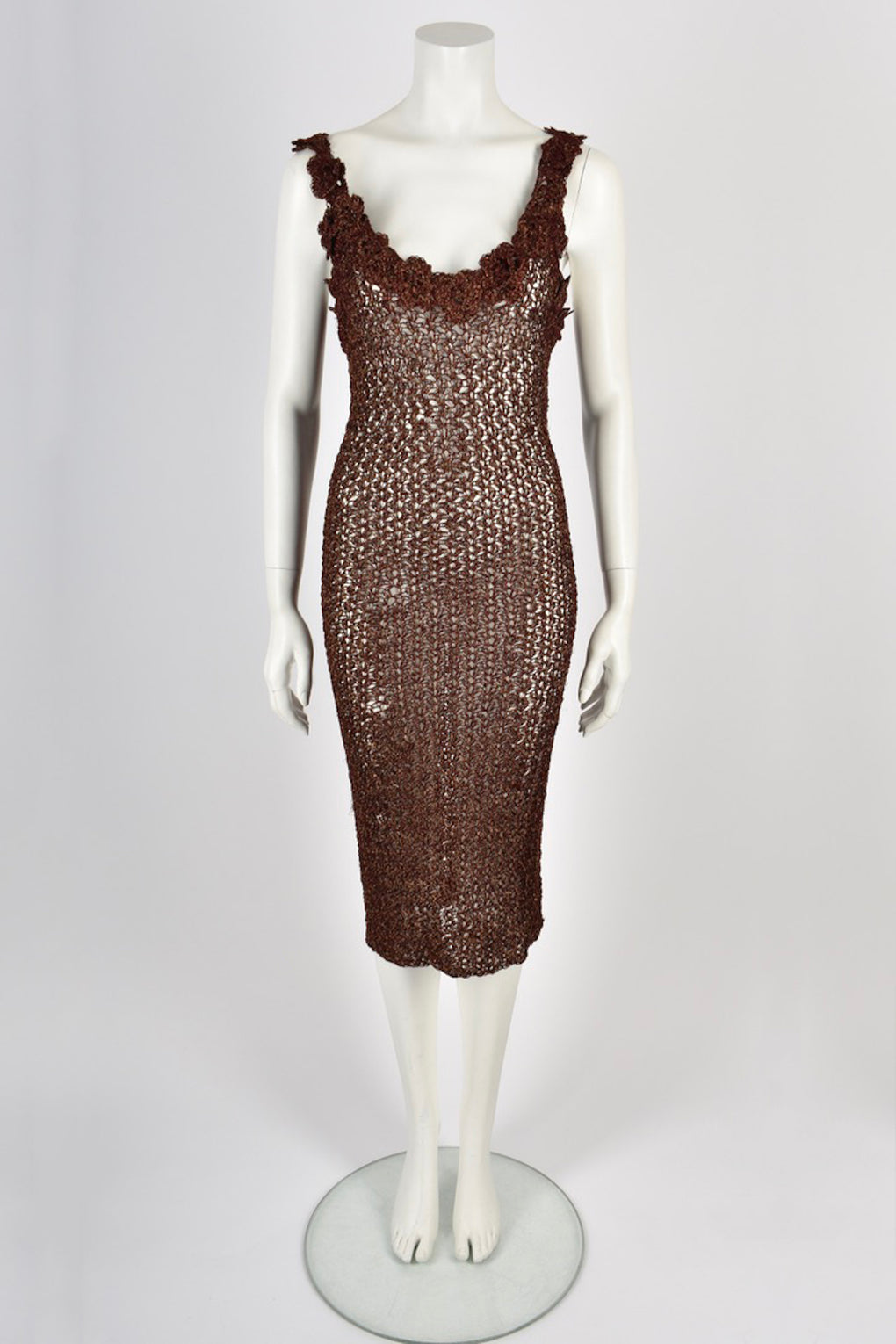 LAINEY brown crochet sparkly dress M
