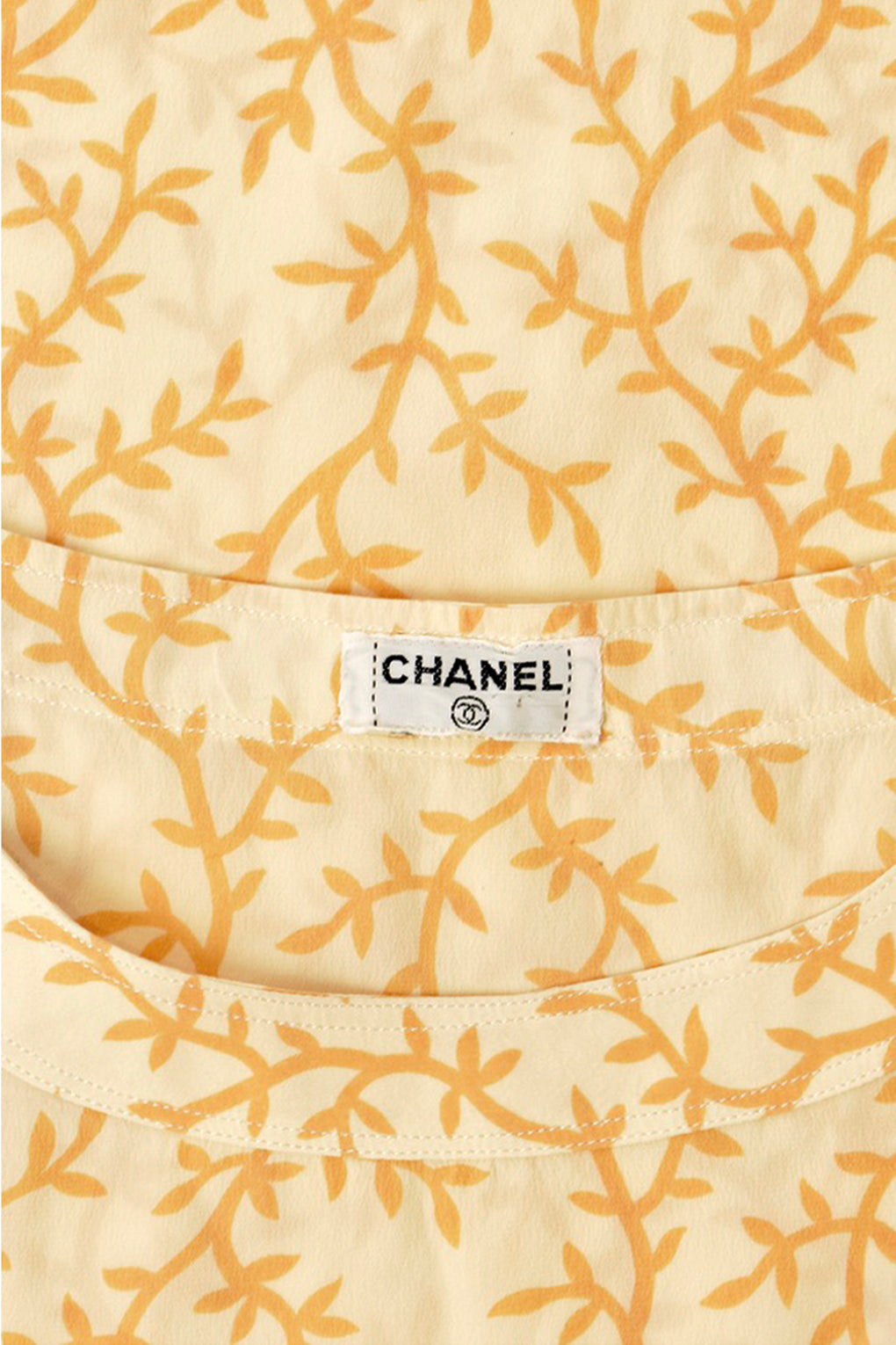 CHANEL silk vine print top / M-L