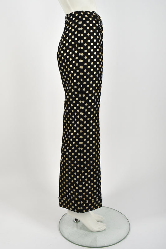 VINTAGE 70s gold polka dot flared trousers S