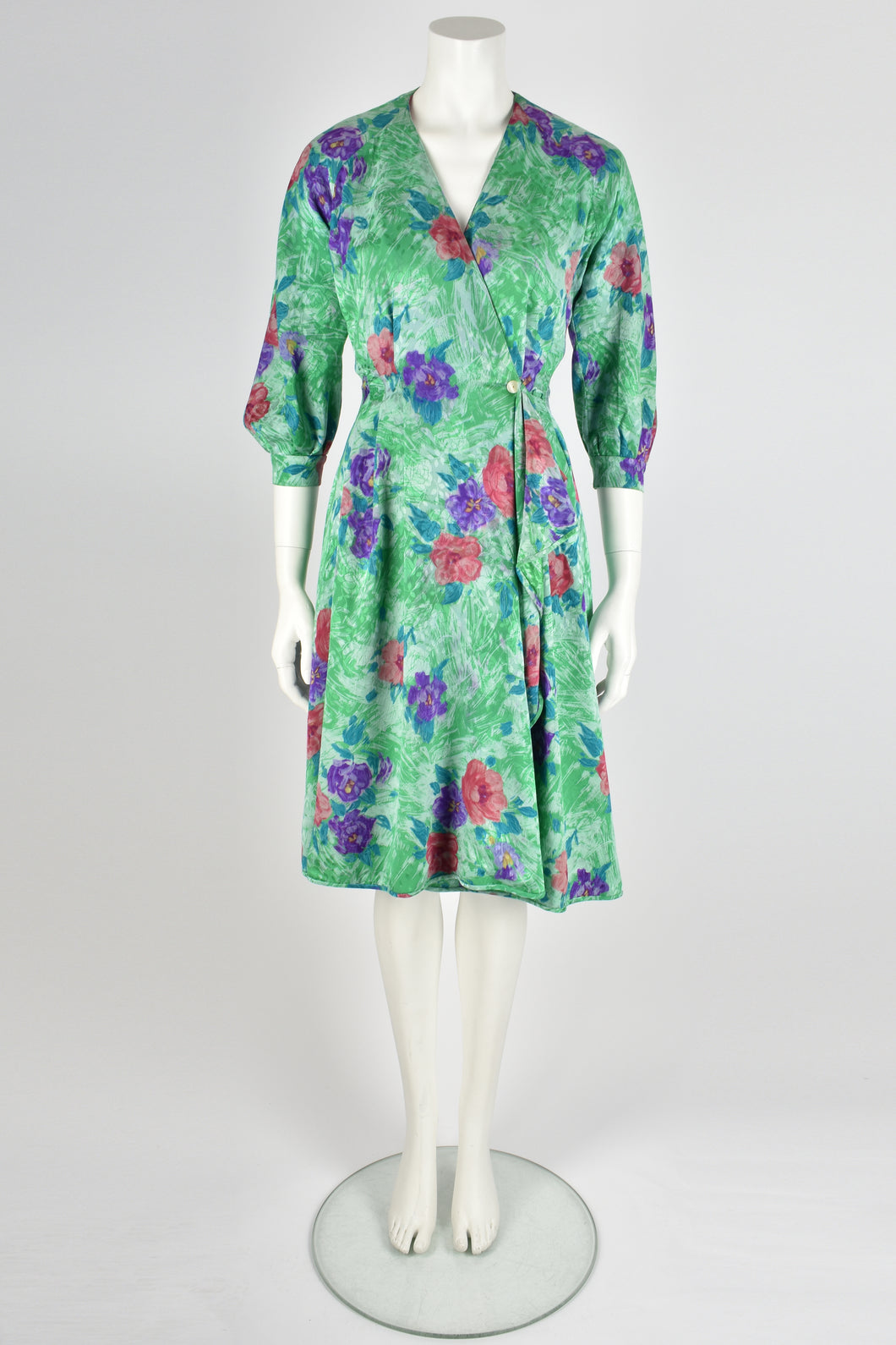 EMANUEL UNGARO 80s rose print wrap dress XS