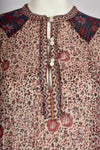 PHOOL 70s Indian print sheer dress / S-M