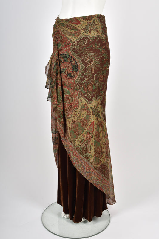 RALPH LAUREN ATTRIBUTED 90s paisley maxi skirt M-L