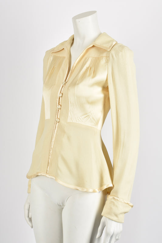 OSSIE CLARK cream satin crepe jacket / S-M
