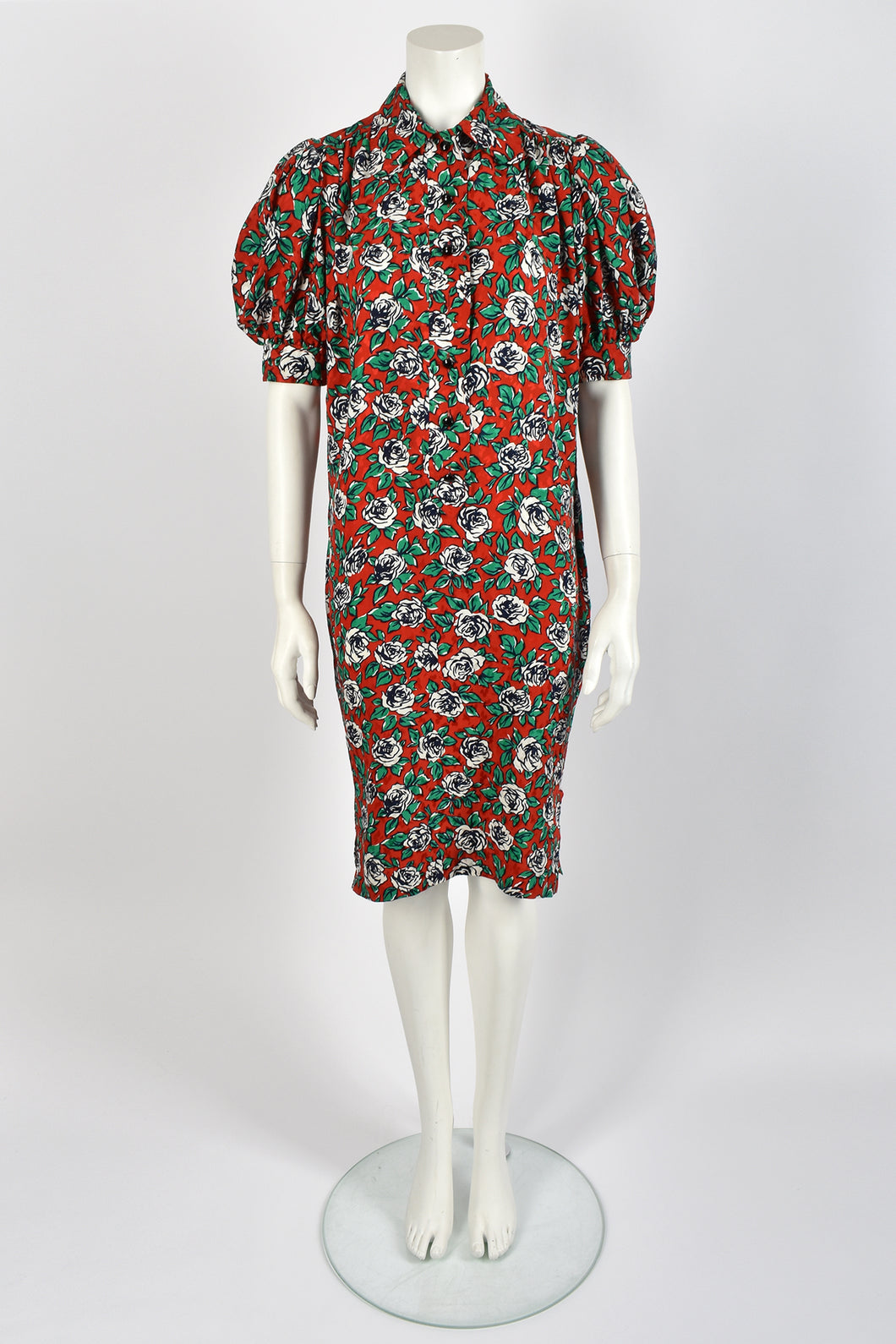 YVES SAINT LAURENT silk floral dress / L