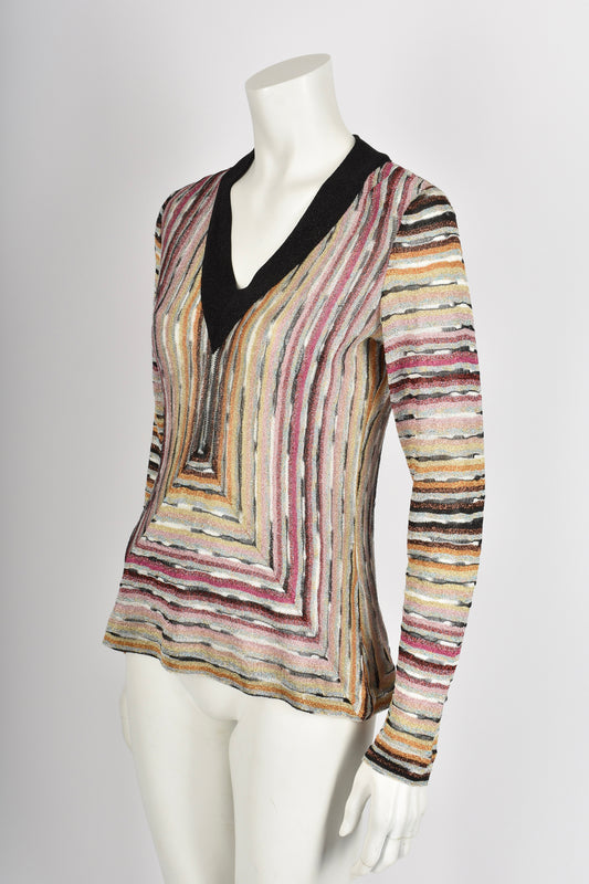 MISSONI 03 striped metallic knit pullover M-L