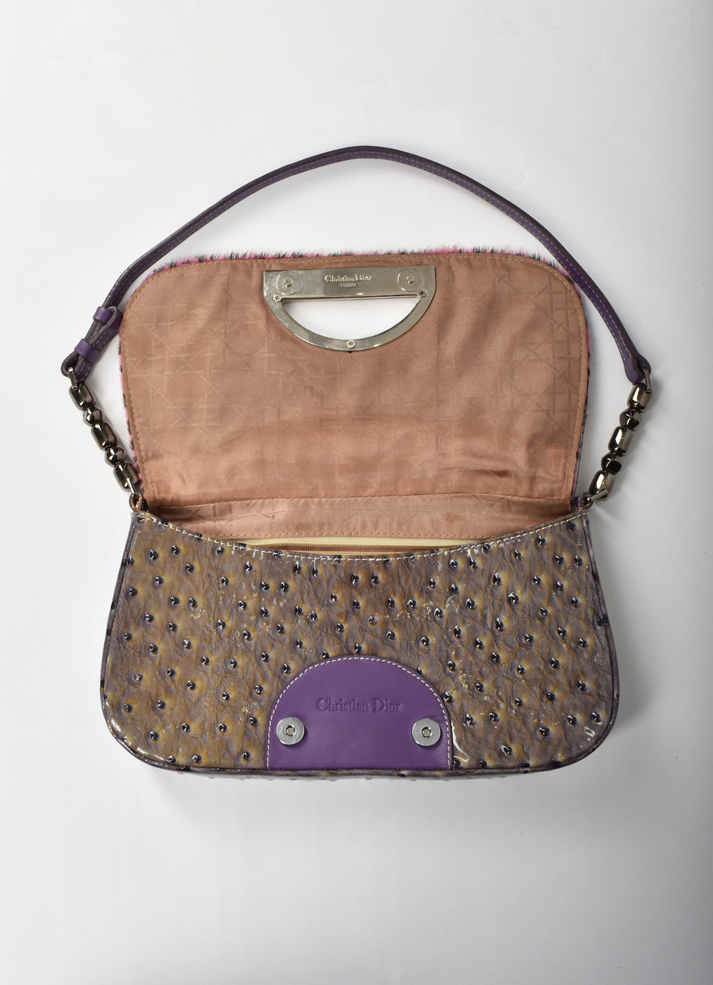 Christian Dior 90's 'Malice' pony hair and ostrich shoulder bag