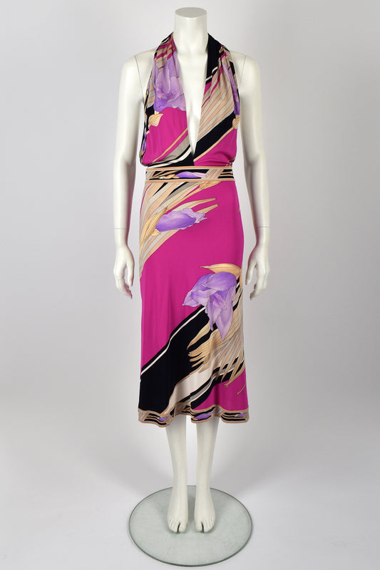 LEONARD PARIS 70s halter neck dress / S