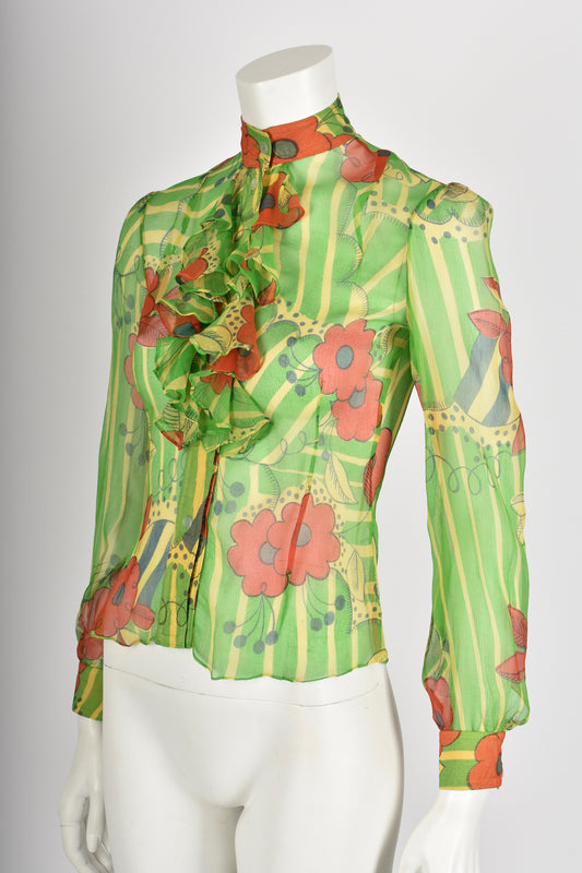 OSSIE CLARK/CELIA BIRTWELL for QUORUM 70s print shirt