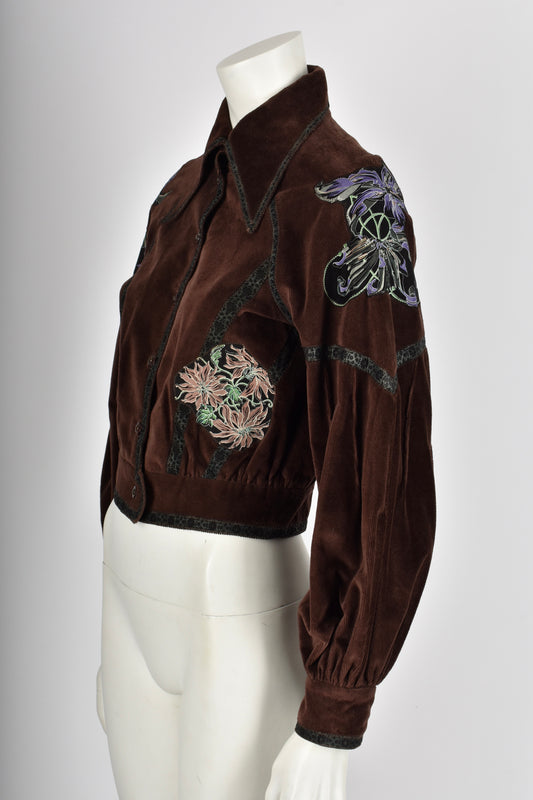 ROBERTO CAVALLI 70s painted leather velvet jacket S
