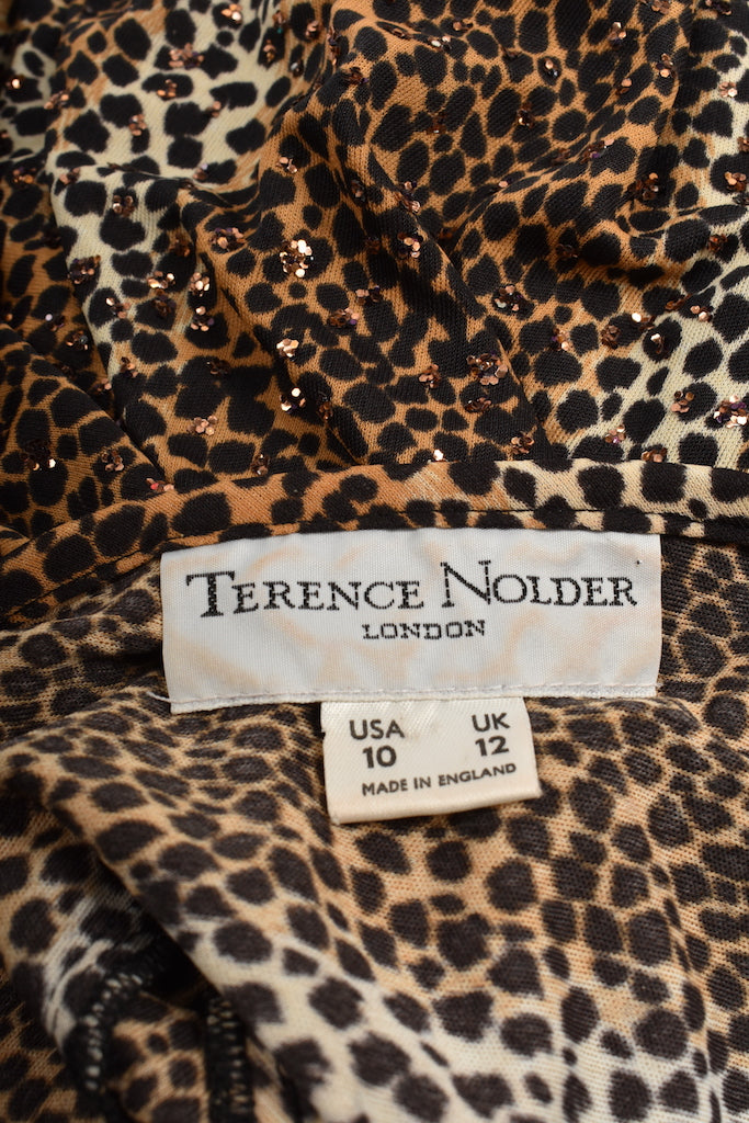 TERENCE NOLDER 70's leopard dress / M