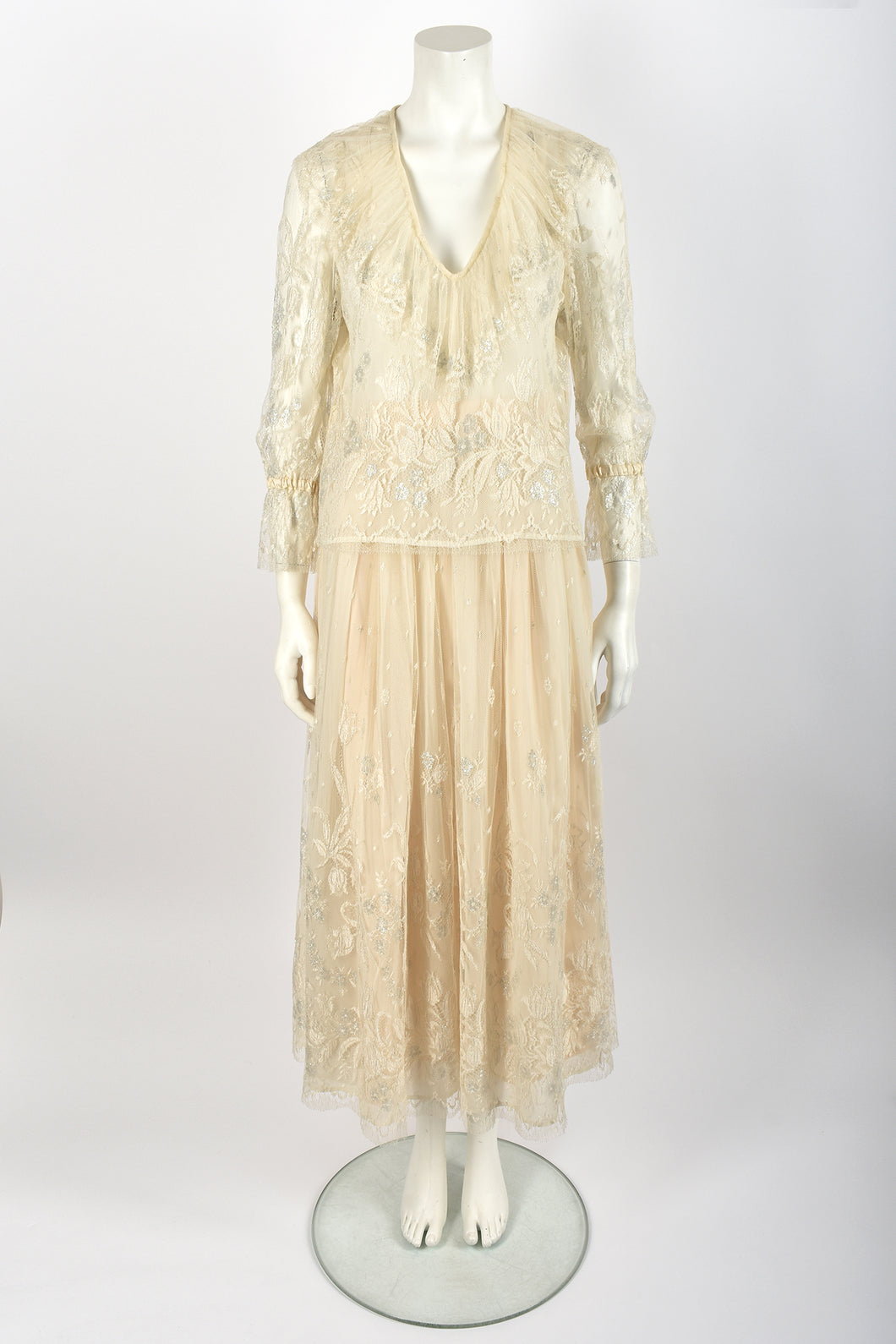 CAROLINE CHARLES lace blouse and skirt set / S-M