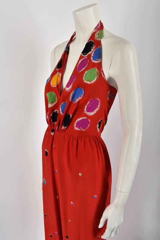 LANVIN 70s silk halter neck dress / S