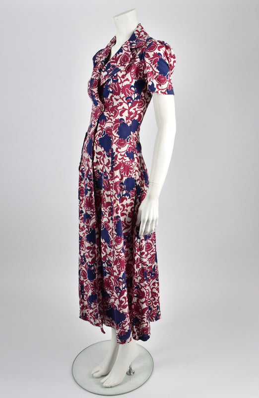 Vintage 30s flower print cotton tea dress / S