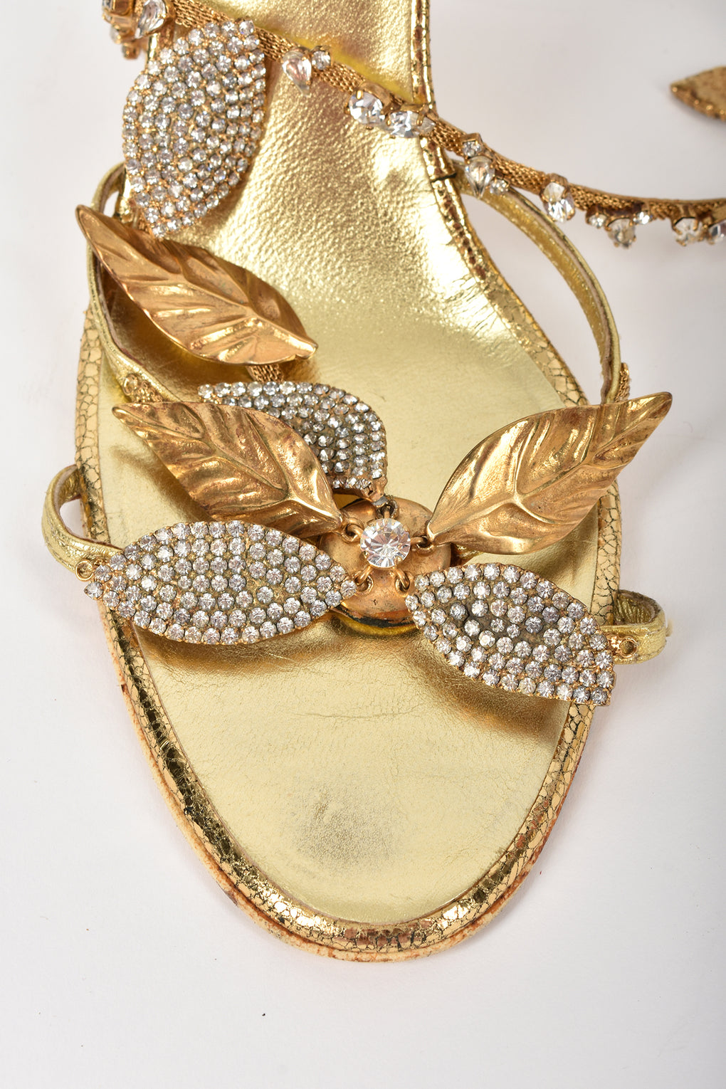 crystals gold leather shoes / 41