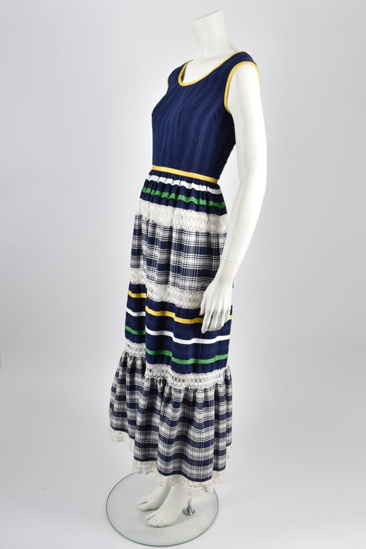 LOUIS FERAUD 60s summer check dress / S-M