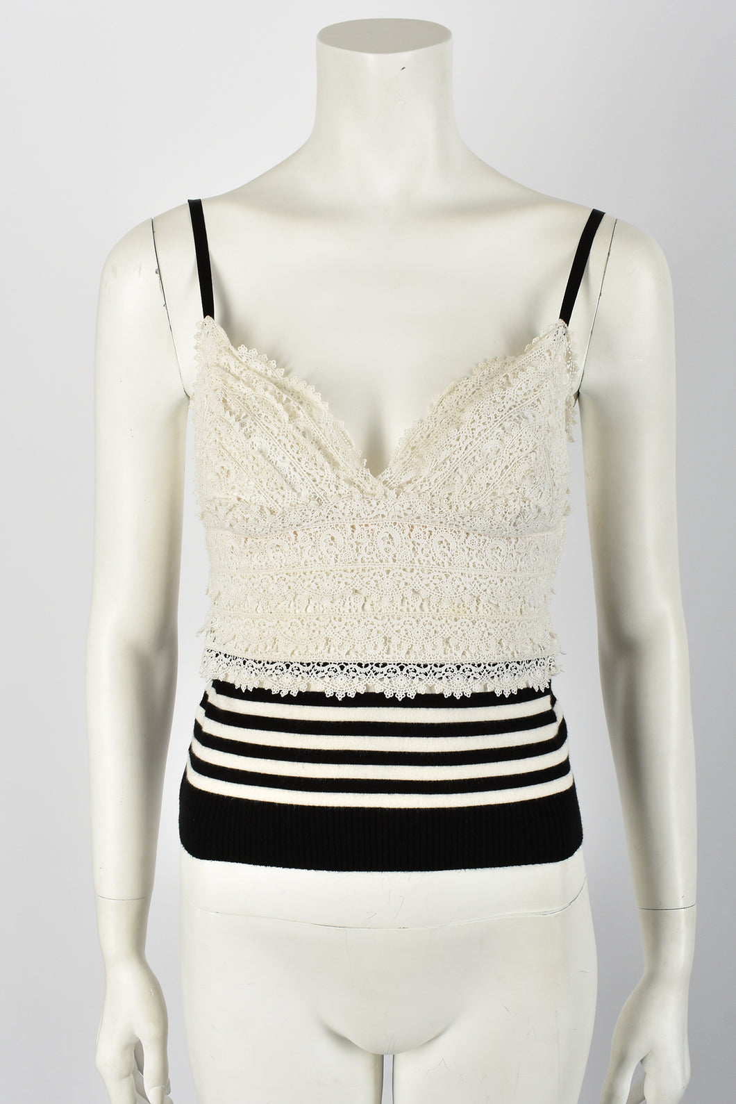 CHANEL lace and knit vest / S