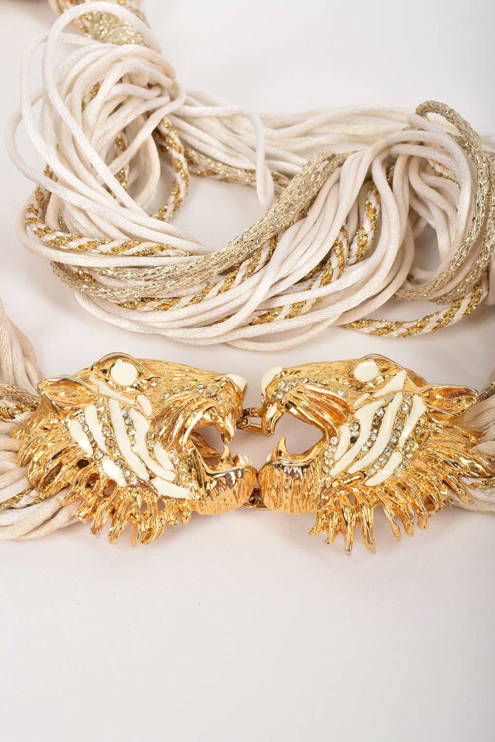 80s crystals tiger heads cord belt / M