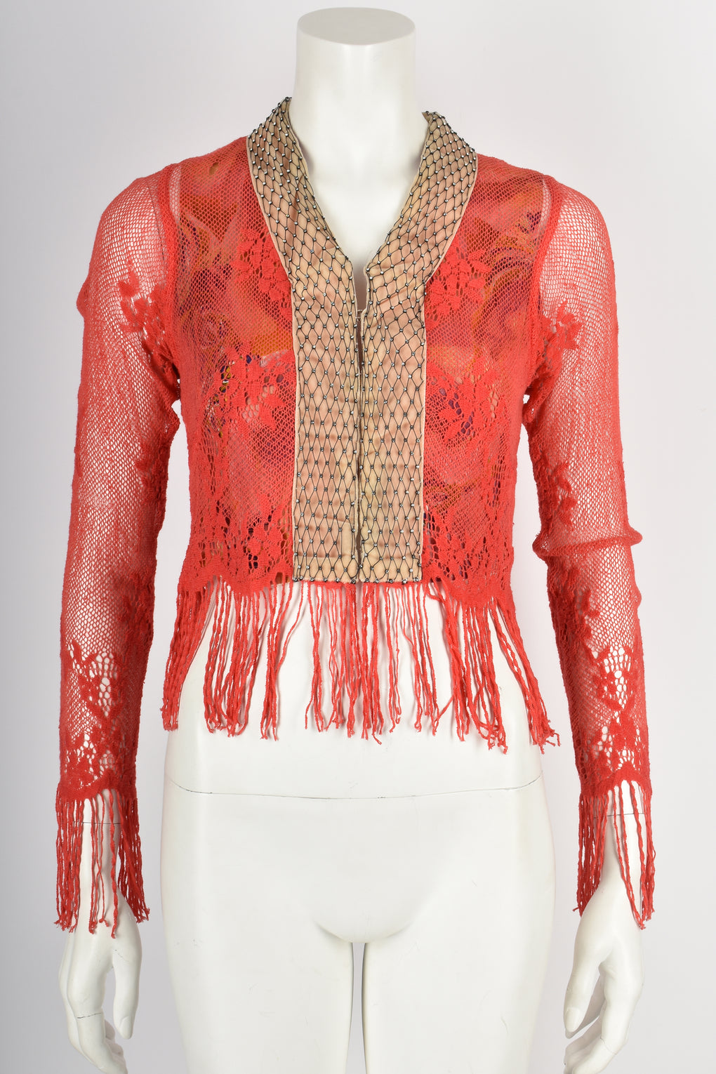 VOYAGE 90s coral red lace fringe cardigan S