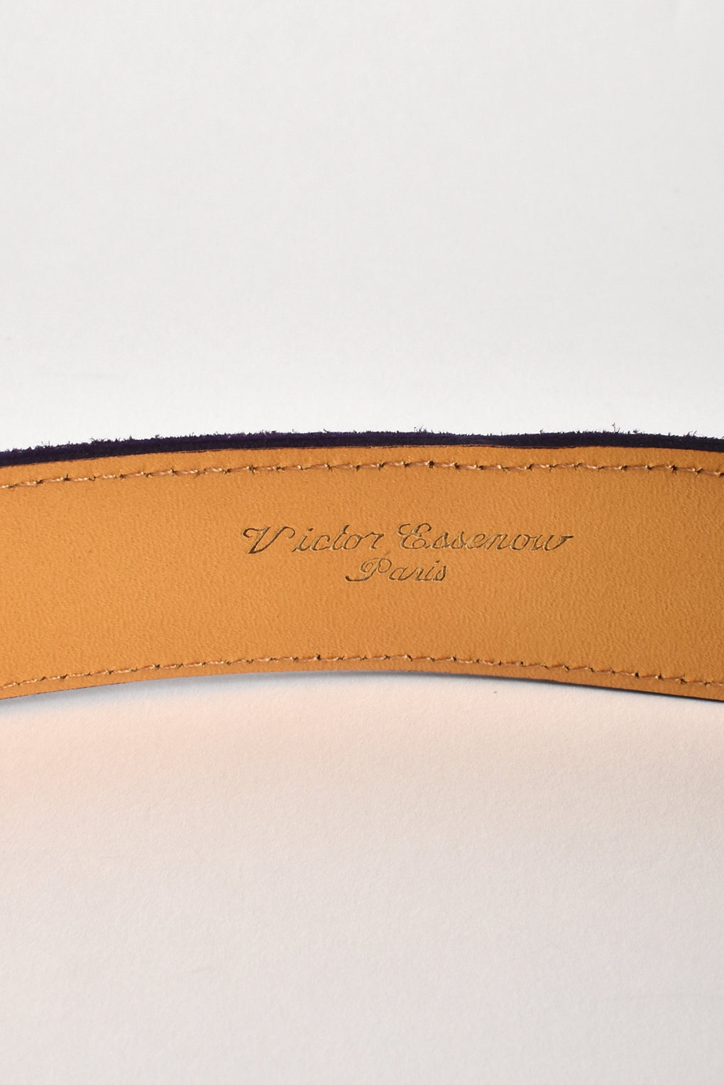 VICTOR ESSENOW 70s gold buckle suede belt / M