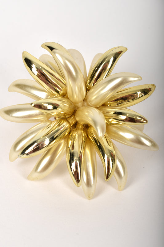 60s oversized flower clip on earrings