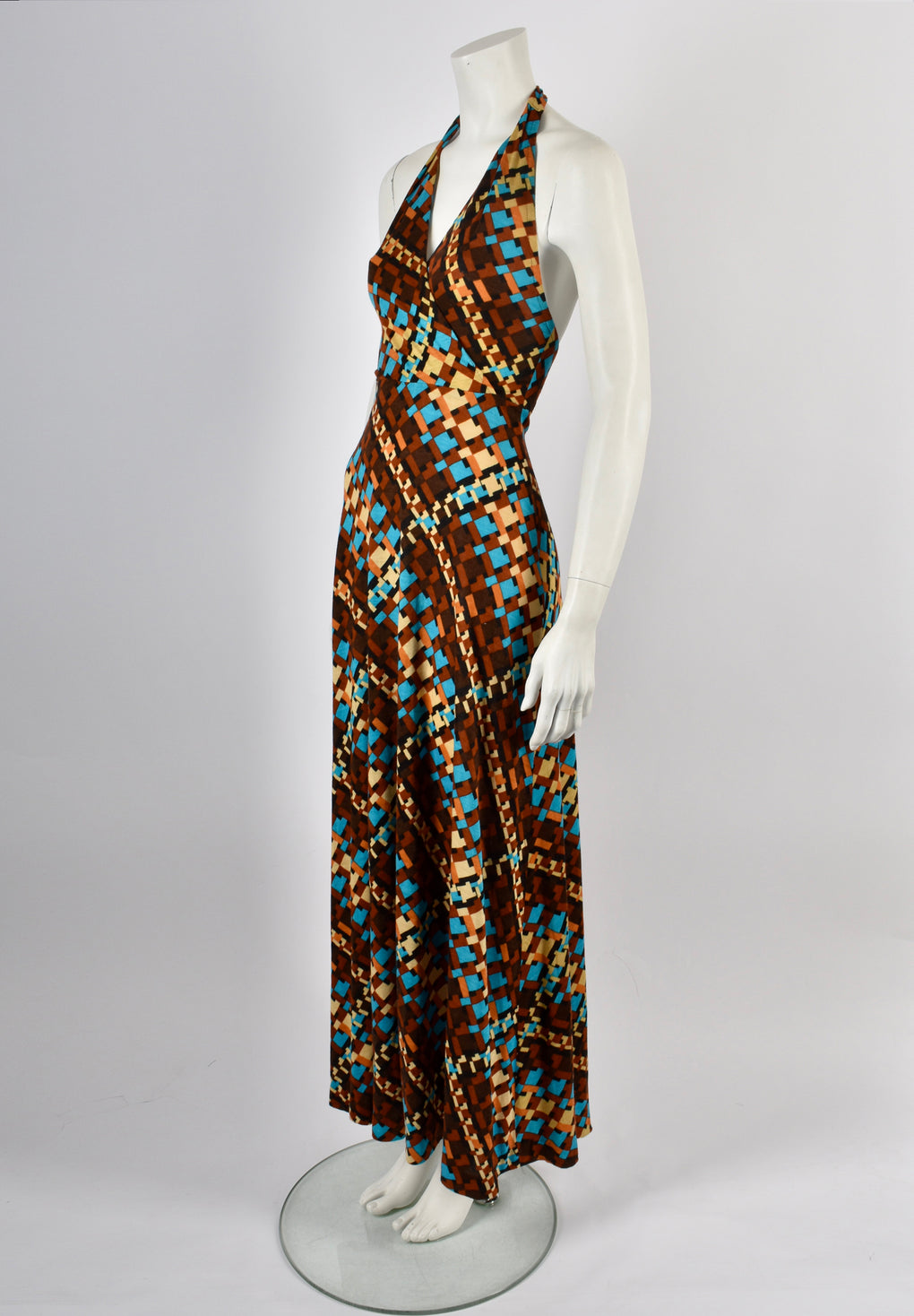 ARISTOS 70s halter neck dress / S-M