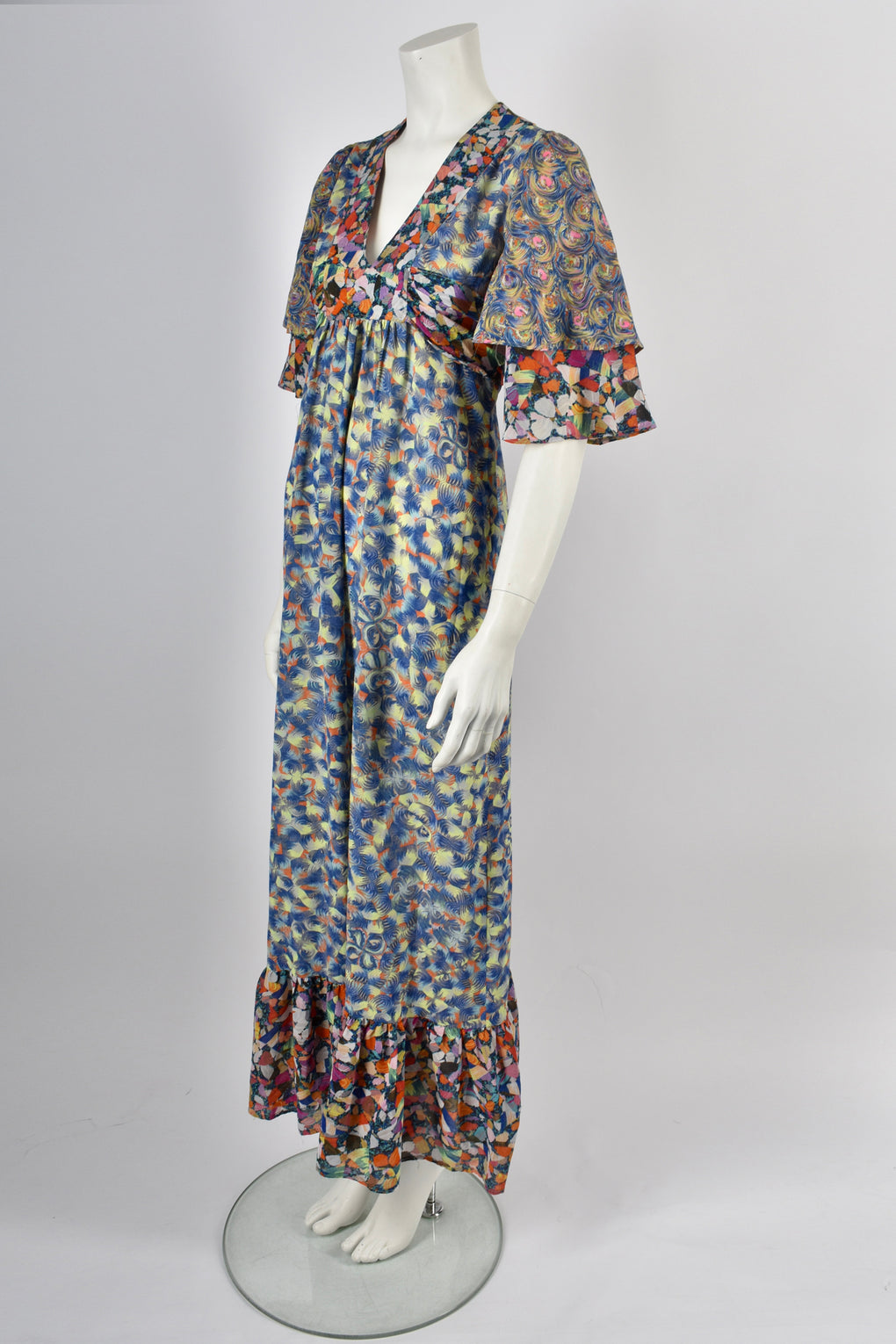 EARLYBIRD 70s marble print dress / M-L