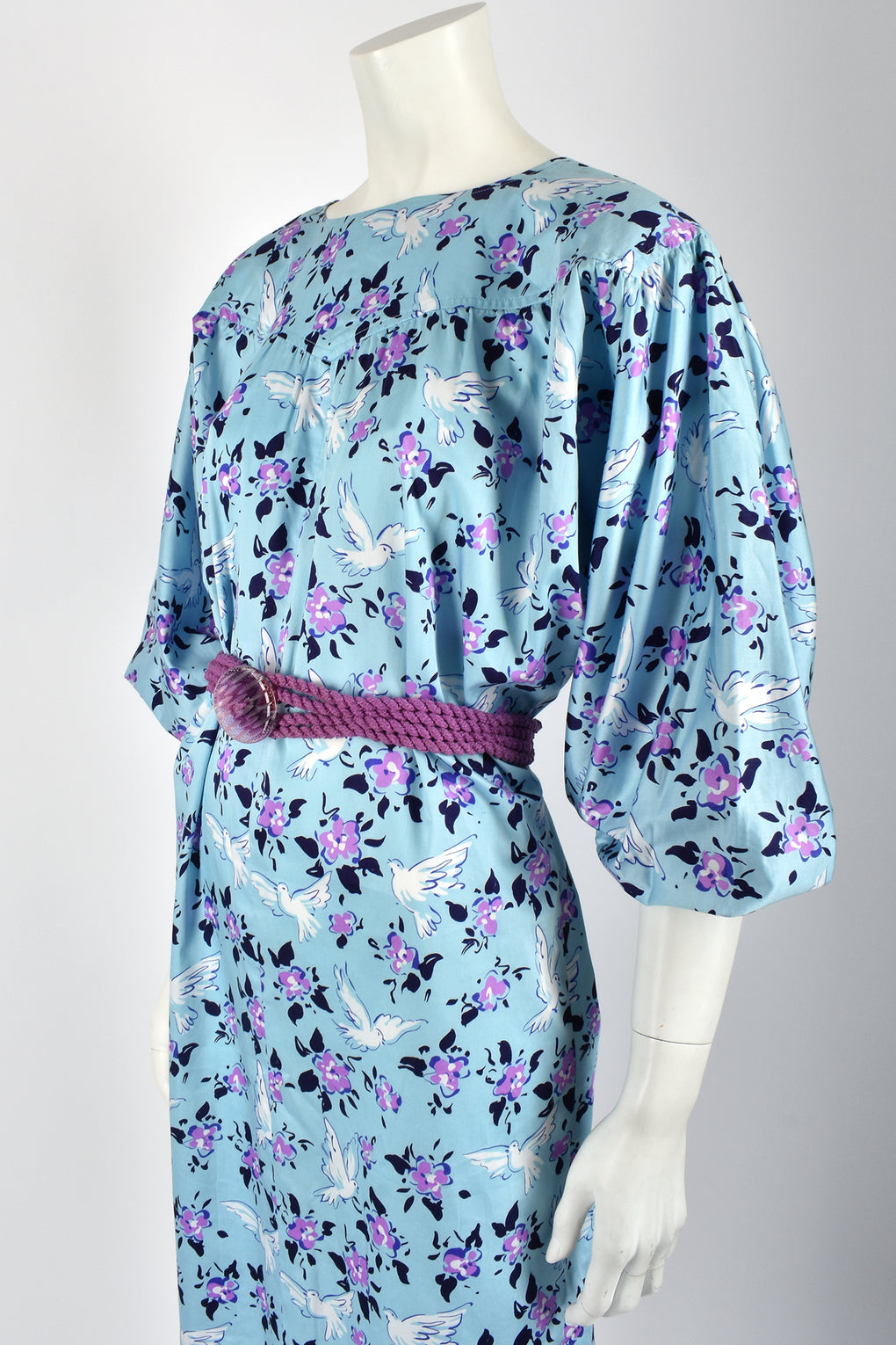 YVES SAINT LAURENT 80s doves print dress / L