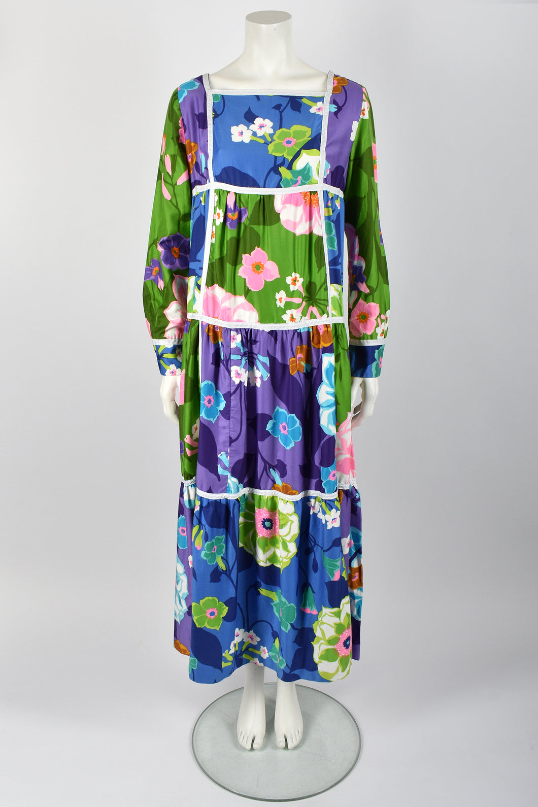 BILL ATKINSON 70s floral cotton dress / L