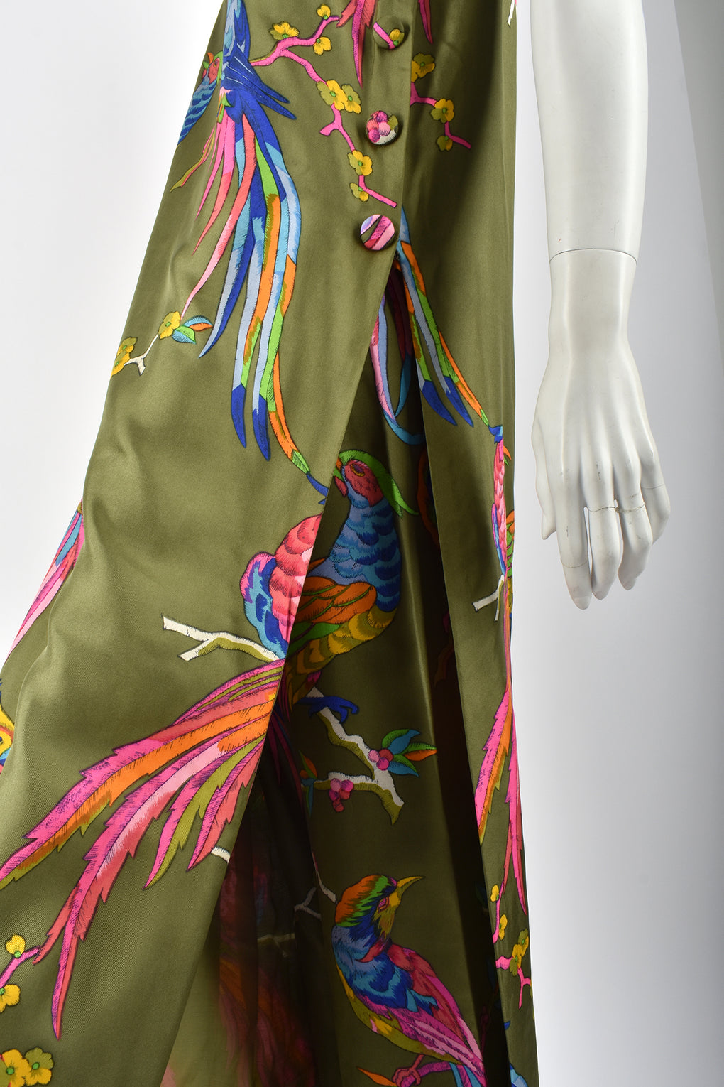 60s silk dress and trousers set / M-L